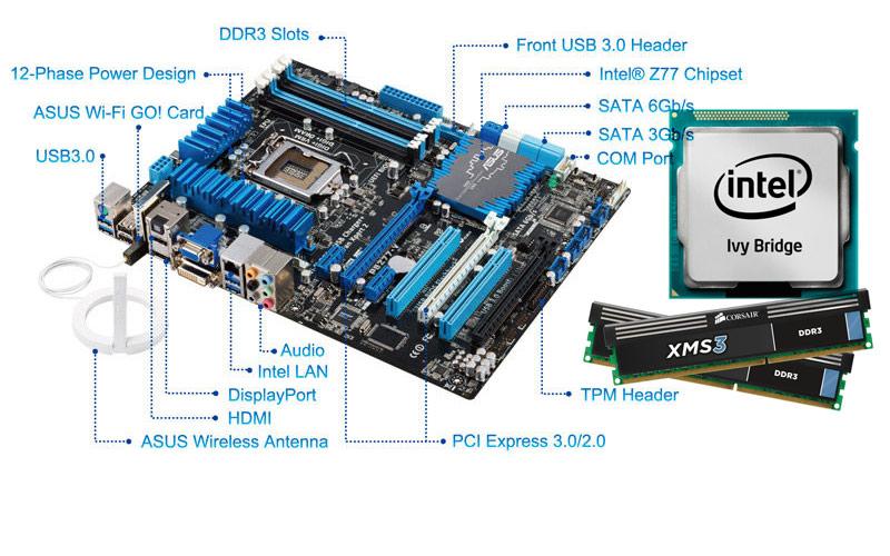 Asus P8Z77-V LX + Intel Core i5 3570K + Corsair XMS3 Kit 8GB DDR-3 1600 MHz