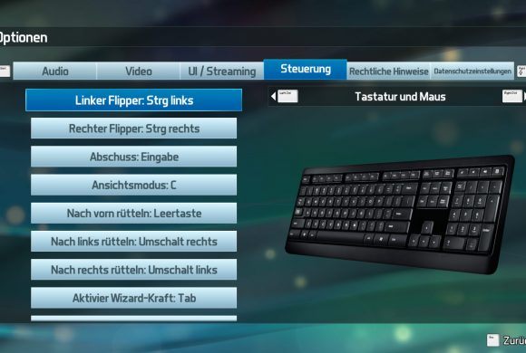 Pinball FX3 Tastatur / Keyboard Settings