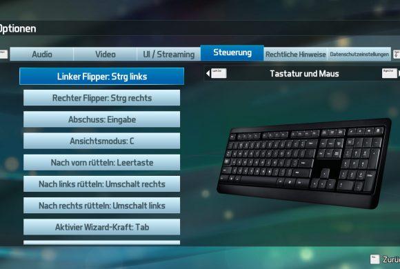 Pinball FX3 Tastatur / Keyboard Settings
