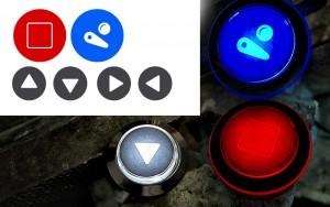 Arcade Buttons mit LED beleuchtet, eigene Grafik