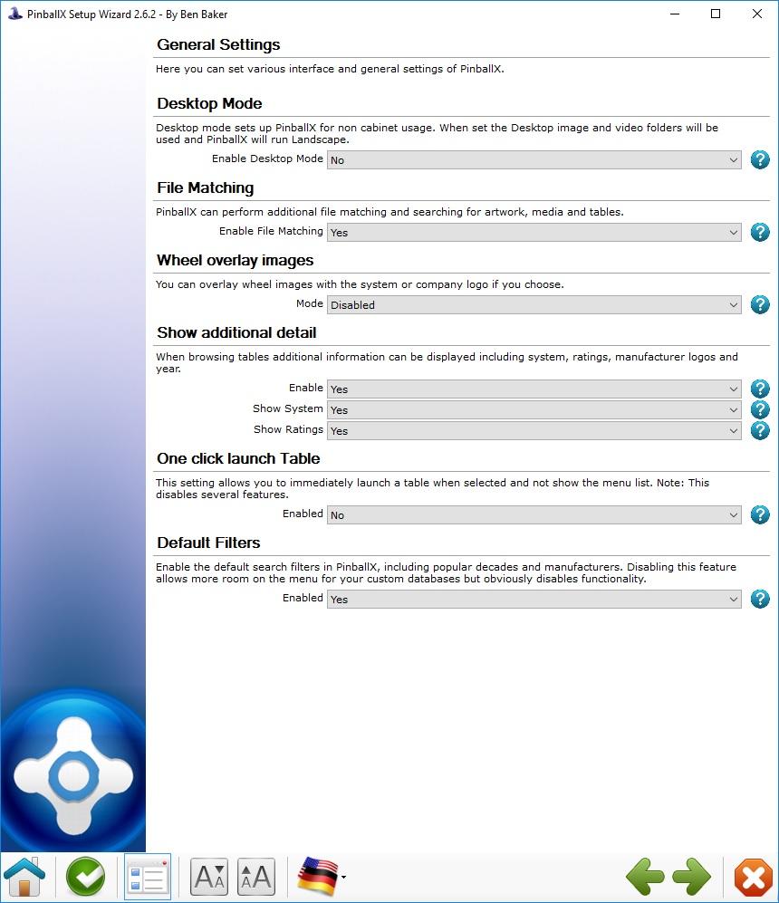 Allgemeine Einstellungen / general settings in PinnballX