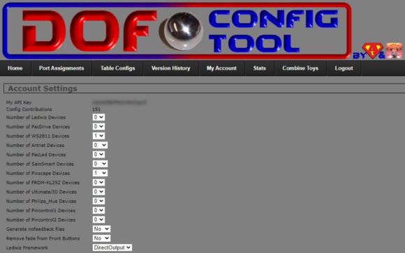 VPIN: DOF Config Tool - My Account